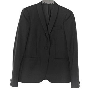 Gucci Mohair Wool Silk Button Up Blazer Black Size 42 US 6 Long Sleeves Lined